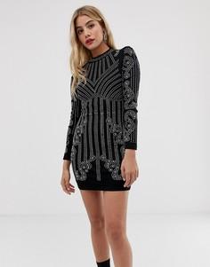 Облегающее платье с высоким воротом и отделкой Parisian - Черный