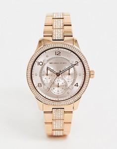 Наручные часы 38 мм цвета розового золота Michael Kors MK6614 Runway - Золотой