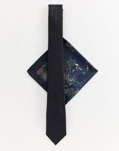 Черный галстук и платок для пиджака с принтом River Island - Черный