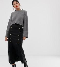Черная юбка миди с пуговицами и двумя разрезами Vero Moda Tall - Черный