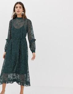 Платье миди с высоким воротом и оборками Y.A.S - Зеленый