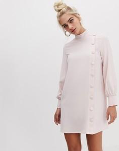 Светло-розовое свободное платье с высоким воротом и пуговицами сбоку River Island - Розовый