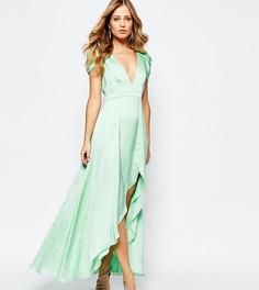 Платье макси с асимметричным краем Fame and Partners Radiant Angel - Зеленый