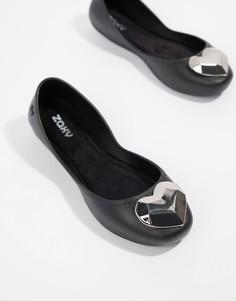 Туфли на плоской подошве с сердцем Zaxy - Черный