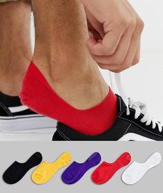 Набор из 5 пар невидимых носков ярких цветов в стиле ретро ASOS DESIGN - Мульти