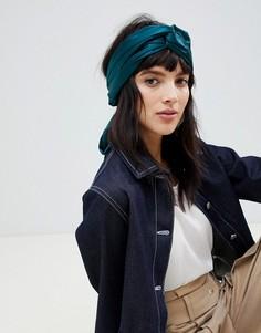 Изумрудно-зеленый головной платок с перекрученной отделкой ASOS DESIGN - Зеленый