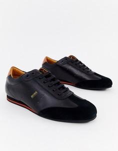 Черные кроссовки из кожи и замши BOSS Lighter Lowp - Черный