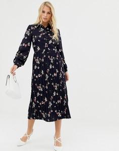 Платье рубашка с цветочным принтом и плиссированной юбкой Liquorish - Темно-синий
