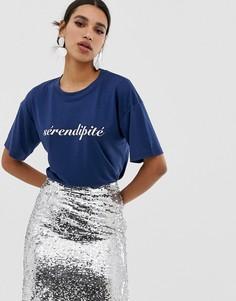 Свободная футболка с принтом Neon Rose - Темно-синий