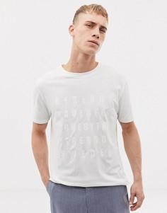 Кремовая приталенная футболка с надписью на груди Tiger of Sweden Jeans - Белый