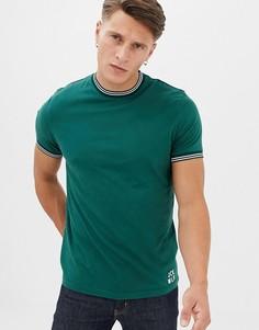 Зеленая футболка с контрастной отделкой Jack Wills Rousting - Зеленый