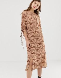 Платье миди с зебровым принтом Glamorous - Бежевый