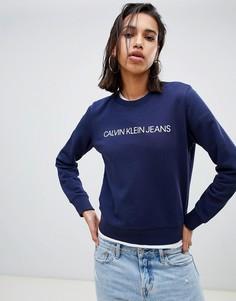 Свитшот с круглым вырезом и логотипом Calvin Klein Jeans institutional - Синий