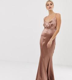 Блестящее атласное платье макси со складками спереди и годе ASOS DESIGN Tall - Медный