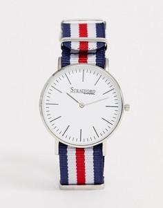 Женские часы с нейлоновым красным/темно-синим ремешком Stratford - Мульти