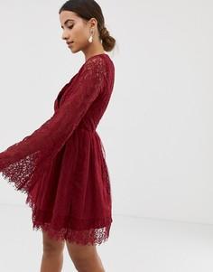 Платье с запахом и длинными рукавами Dolly & Delicious - Красный