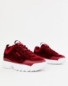 Бордовые велюровые кроссовки Fila Disruptor Ii - Красный