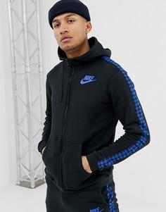Черный худи в клеточку с полосками по бокам Nike BQ0678-010 - Черный