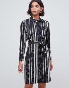 Платье-рубашка в полоску и горошек с открытой спиной Liquorish - Темно-синий