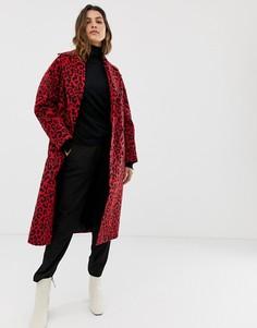 Двубортное пальто со звериным принтом Helene Berman - Красный