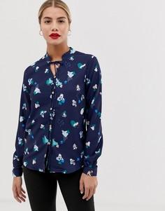 Блузка с завязкой на бант и цветочным принтом Yumi - Темно-синий