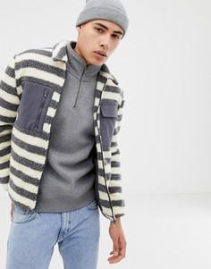 Куртка из искусственного меха в полоску Native Youth - Серый