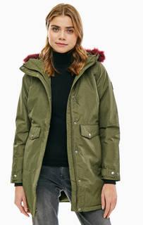 Удлиненная куртка цвета хаки с капюшоном Columbia