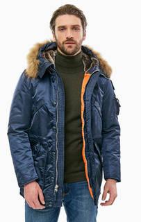 Синяя куртка с меховой отделкой Blauer usa