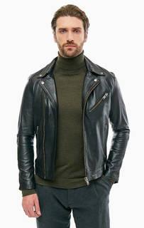 Куртка из натуральной кожи с косой молнией Selected
