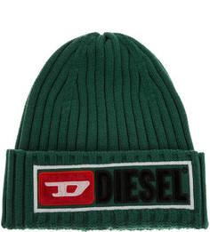 Полушерстяная шапка зеленого цвета с декоративной нашивкой Diesel