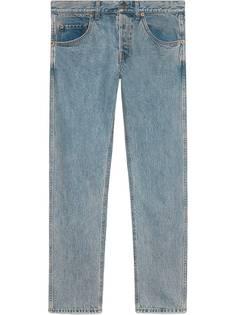 Gucci зауженные джинсы с нашивками