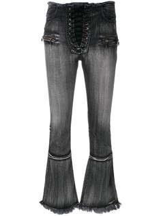 Unravel Project укороченные расклешенные джинсы на шнуровке