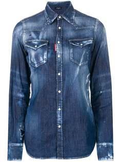 Dsquared2 состаренная джинсовая рубашка