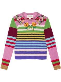 Gucci разноцветная вязаная кофта с вышивкой
