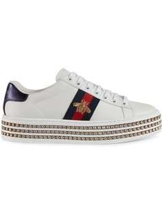 Gucci кроссовки Ace с кристаллами