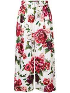 Dolce & Gabbana кюлоты с принтом пионов