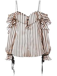 Self-Portrait полосатая блузка с оборками на бретельках