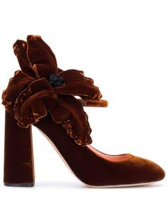 Rochas бархатные туфли-лодочки с аппликацией в форме цветка