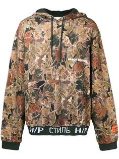Heron Preston толстовка с капюшоном и камуфляжным принтом с листьями