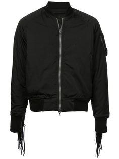 Julius куртка-бомбер с манжетами с бахромой