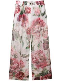 Dolce & Gabbana укороченные брюки с цветочным принтом