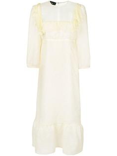Rochas платье с оборками и полупрозрачной отделкой
