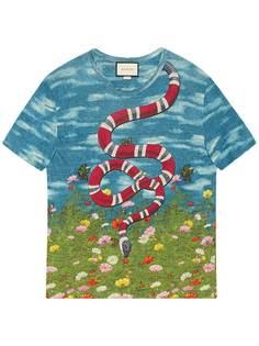 Gucci футболка с принтом змеи
