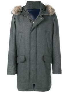 Eleventy куртка с меховой отделкой на капюшоне