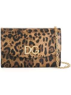 Dolce & Gabbana кошелек на цепочке с леопадовым принтом