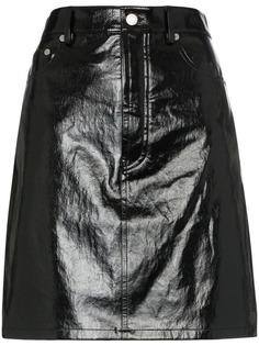 Helmut Lang лакированная юбка с пятью карманами