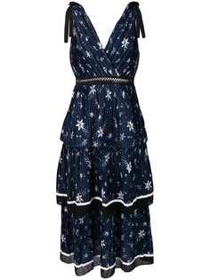 Self-Portrait плиссированное платье с цветочным принтом