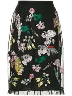 Markus Lupfer embroidered tulle layer skirt