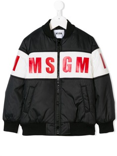 Msgm Kids куртка-бомбер с принтом логотипа