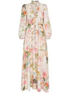 Zimmermann платье макси Heather с цветочным принтом